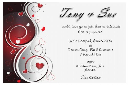 10 Personalised Wedding Engagement Party Invitations N3